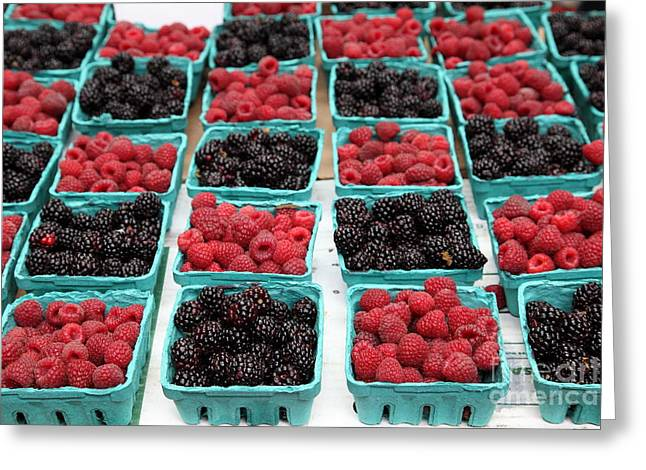 Blackberries and Rasberries - 5D17827 Greeting Card by Wingsdomain Art and Photography