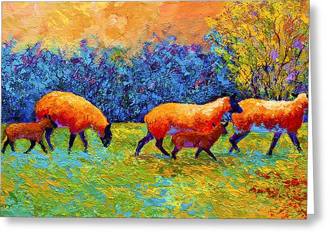 Blackberries and Sheep II Greeting Card by Marion Rose