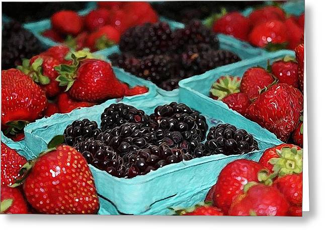 Blackberries And Strawberries Greeting Card by Cathie Tyler