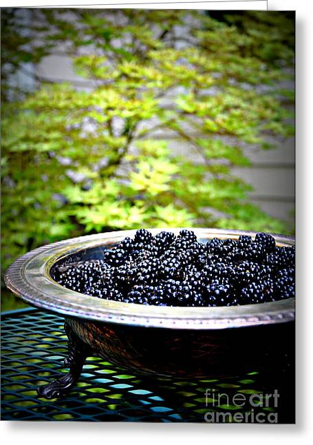 Tatyana Greeting Cards - Blackberries In Silver Dish Greeting Card by Tanya  Searcy