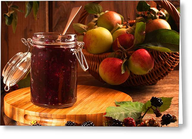Harvest Photographs Greeting Cards - Blackberry and Apple Jam Greeting Card by Amanda And Christopher Elwell