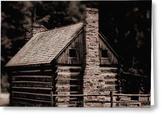 Recently Sold -  - Berry Greeting Cards - Blackberry Holler Cabin Greeting Card by Kris Napier