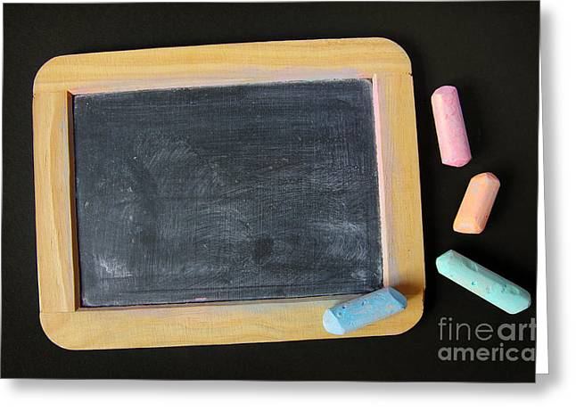 Blackboard Chalk Greeting Card by Carlos Caetano