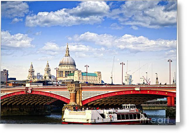 Traffic Greeting Cards - Blackfriars Bridge and St. Pauls Cathedral in London Greeting Card by Elena Elisseeva