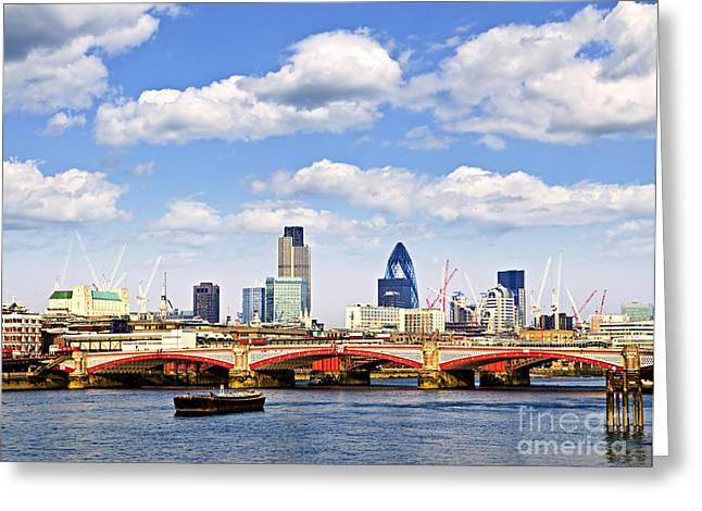 Blackfriars Bridge with London skyline Greeting Card by Elena Elisseeva