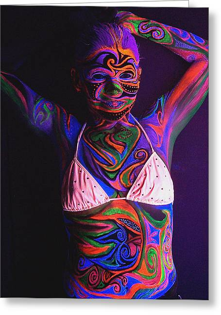 Blacklight Bodypaint Swimsuit Body Paint On Girl Greeting Card by Hilary Leigh