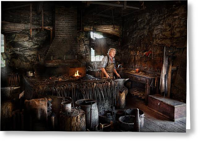 Metalworker Greeting Cards - Blacksmith - This is my trade  Greeting Card by Mike Savad