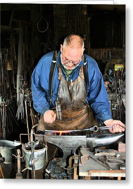 Hot Iron Greeting Cards - Blacksmith Greeting Card by Kristin Elmquist