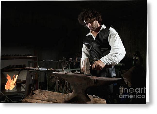 Metalworker Greeting Cards - Blacksmith  Greeting Card by Yedidya yos mizrachi