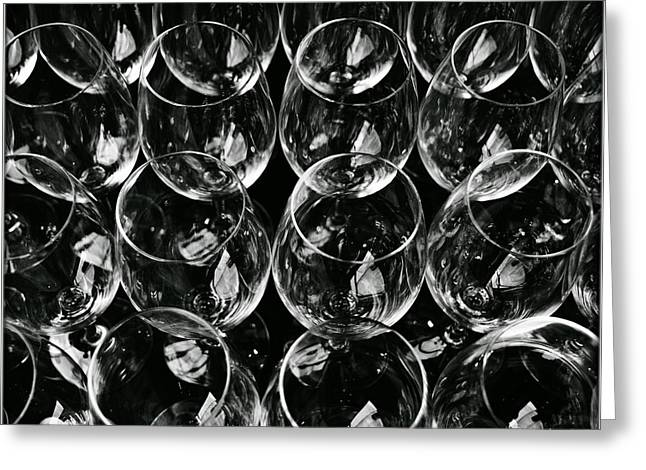 Steal Posters Greeting Cards - Blackwhite Glass Greeting Card by James Serikov