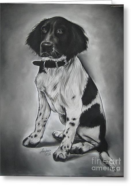 White Dogs Pastels Greeting Cards - Blacky Greeting Card by Anastasis  Anastasi