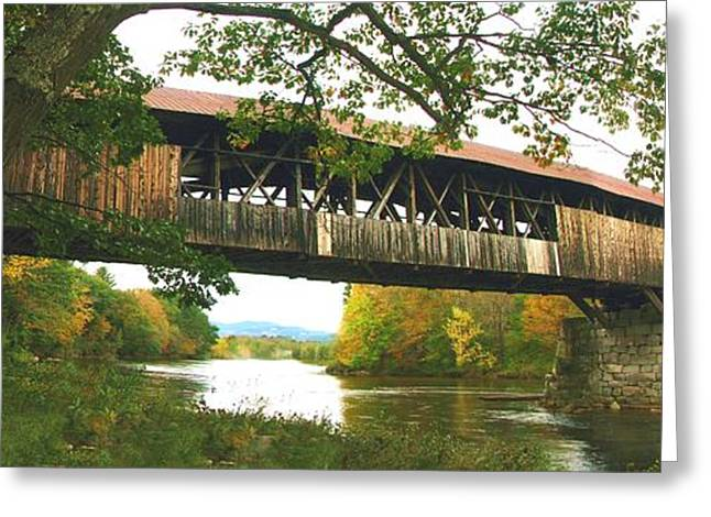 Covered Bridge Greeting Cards - Blair covered Bridge 1124 Greeting Card by J D  Whaley