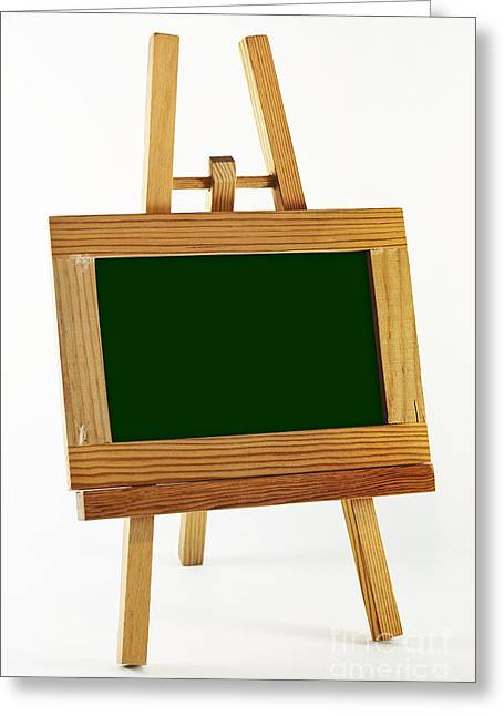 Enclosed Greeting Cards - Blank chalkboard in wood frame Greeting Card by Blink Images