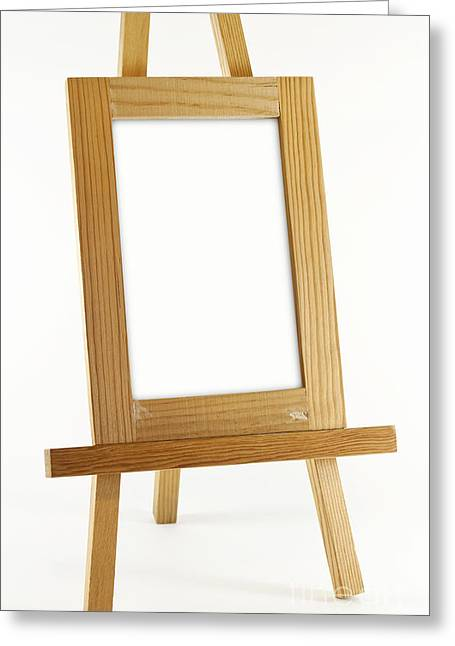 Framework Greeting Cards - Blank vertical wood frame Greeting Card by Blink Images