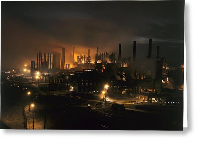 Illuminated Greeting Cards - Blast Furnaces Of A Steel Mill Light Greeting Card by J. Baylor Roberts