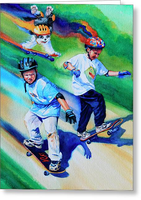 Sports Artist Greeting Cards - Blasting Boarders Greeting Card by Hanne Lore Koehler