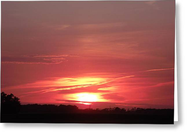 Photos With Red Greeting Cards - Blazing Red Sunset Greeting Card by Brian  Maloney