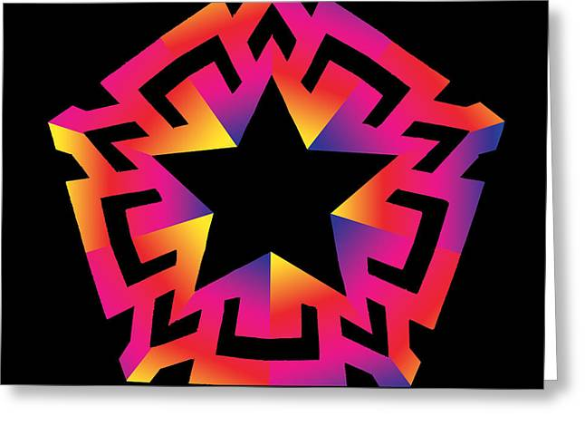 Geometric Abstraction Mixed Media Greeting Cards - Blazing Star Greeting Card by Eric Edelman