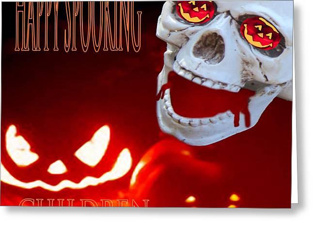 Bleeding Skull Greeting Card by Debra     Vatalaro