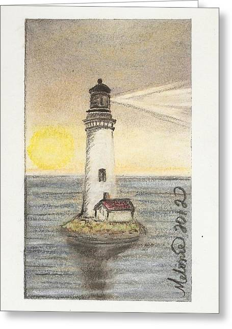 New England Lighthouse Pastels Greeting Cards - Blended Light Greeting Card by Melonie King