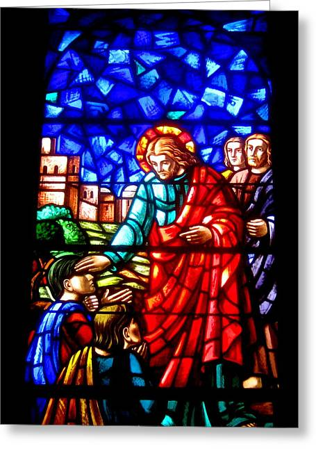 Stainglass Greeting Cards - Blessed Are Those Greeting Card by Allen n Lehman