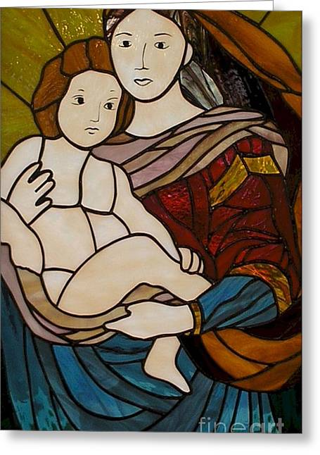 Jesus Glass Art Greeting Cards - Blessed Art Thou Among Women-Mary Greeting Card by David Gomm
