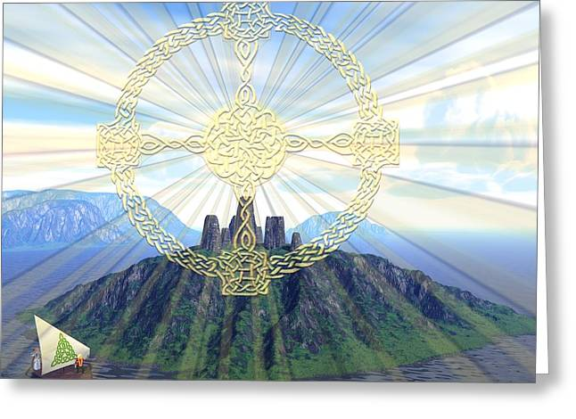 Knotwork Greeting Cards - Blessed Isle Greeting Card by Diana Morningstar