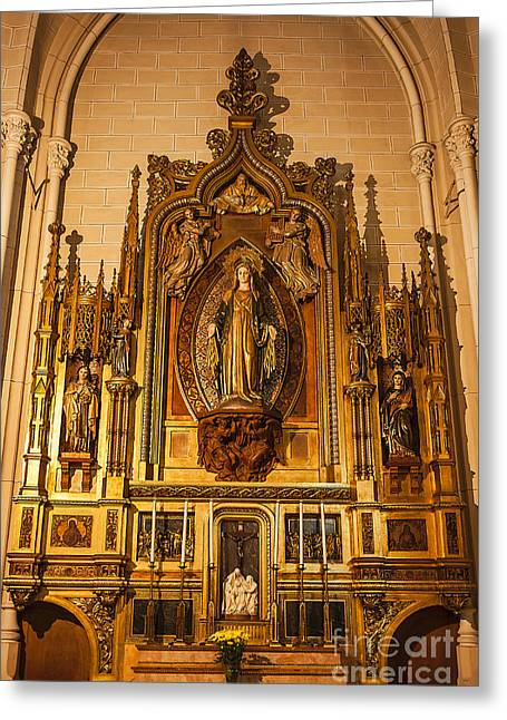 Blessed Mother Greeting Cards - Blessed Mother Alter Shrine Greeting Card by John Greim