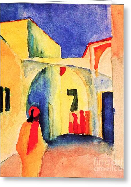 Macke Greeting Cards - Blick in eine Gasse Greeting Card by Pg Reproductions