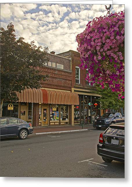 Blind Georges And Laughing Clam On G Street In Grants Pass Greeting Card by Mick Anderson