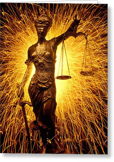 Blinds Greeting Cards - Blind Justice  Greeting Card by Garry Gay