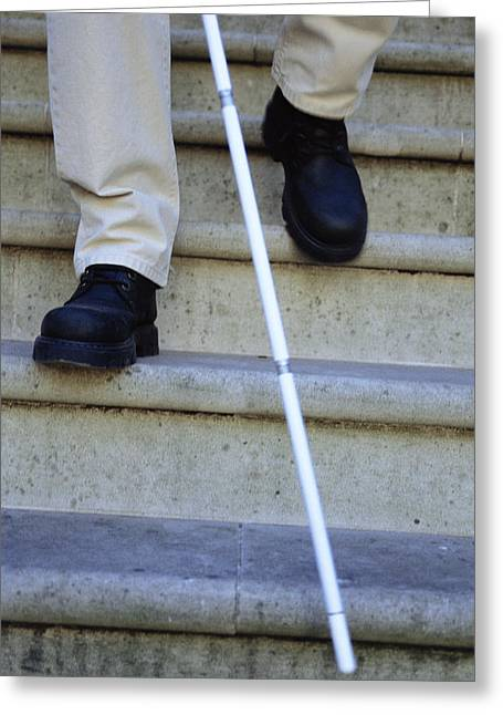 Disability Photographs Greeting Cards - Blind Man Descending Stairs Greeting Card by Cristina Pedrazzini