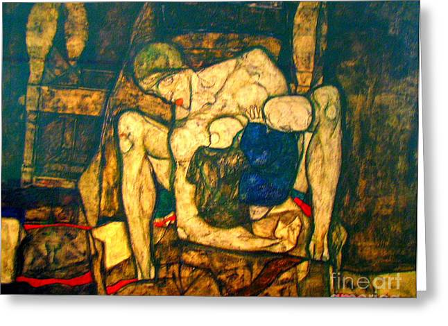 Woman With Black Hair Greeting Cards - Blind Mother by Egon Schiele Greeting Card by Pg Reproductions