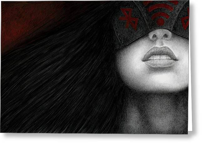 Goth Greeting Cards - Blinders Greeting Card by Pat Erickson