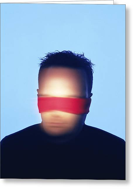 Blind Eyes Greeting Cards - Blindfolded Man Greeting Card by Cristina Pedrazzini