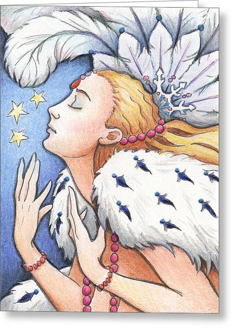 Meditate Drawings Greeting Cards - Blissful Winter Greeting Card by Amy S Turner