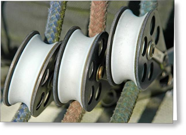 Boat Hardware Greeting Cards - Block and Tackle Greeting Card by Bill Kellett