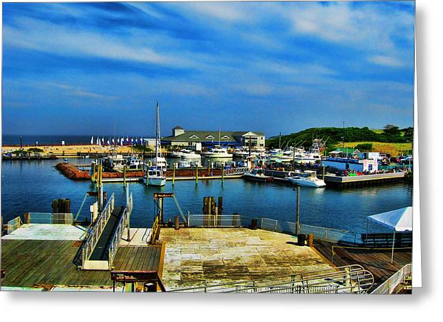 Atlantic Beaches Greeting Cards - Block Island Marina Greeting Card by Lourry Legarde