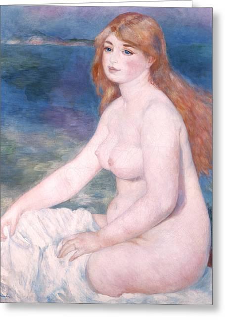 Auburn Greeting Cards - Blonde Bather II Greeting Card by Renoir