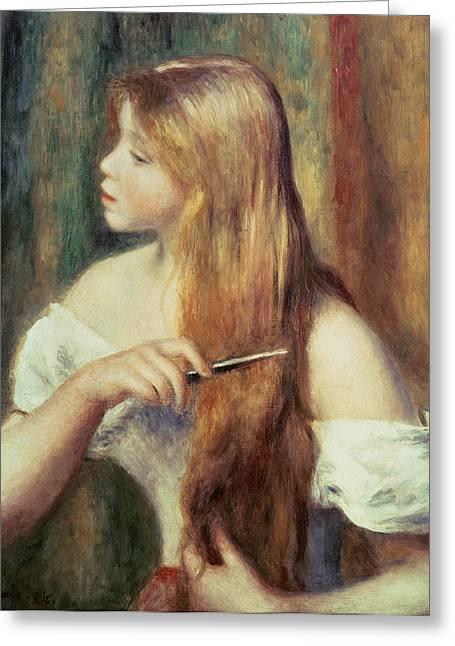 Blonde Girl Greeting Cards - Blonde girl combing her hair Greeting Card by Pierre Auguste Renoir