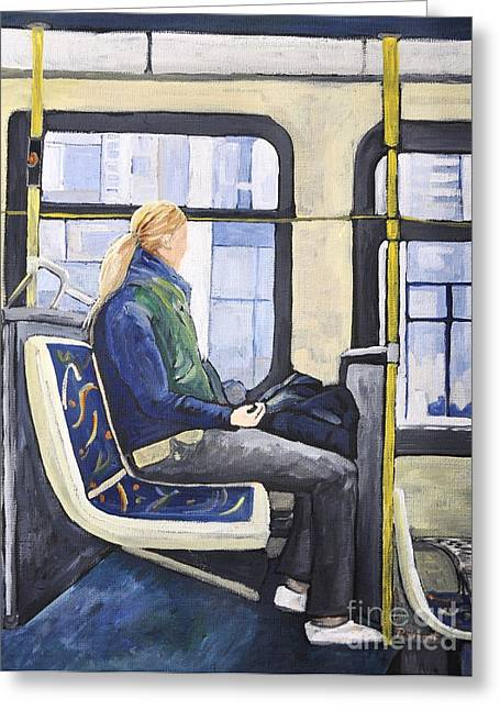 Bus Ride Greeting Cards - Blonde Girl on 107 Bus Montreal Greeting Card by Reb Frost