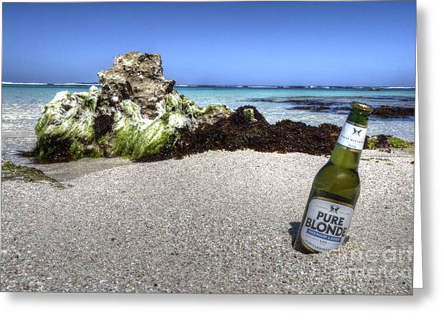Bier Greeting Cards - Blonde on the Beach  Greeting Card by Rob Hawkins