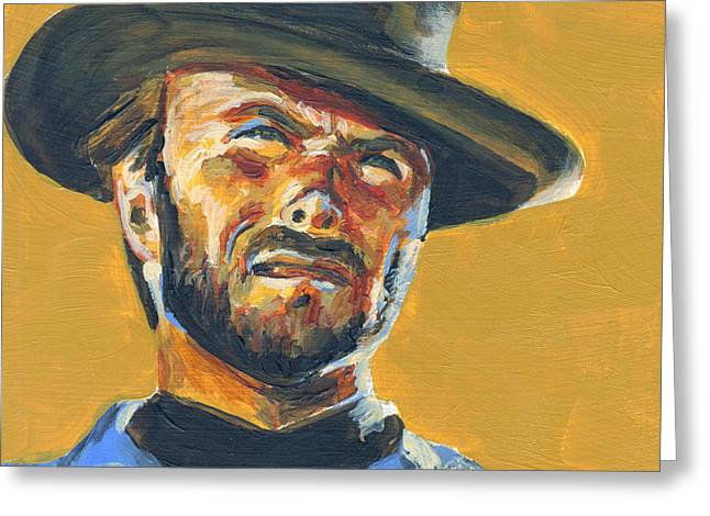 Cowboys Greeting Cards - Blondie      The Good The Bad and The Ugly Greeting Card by Buffalo Bonker