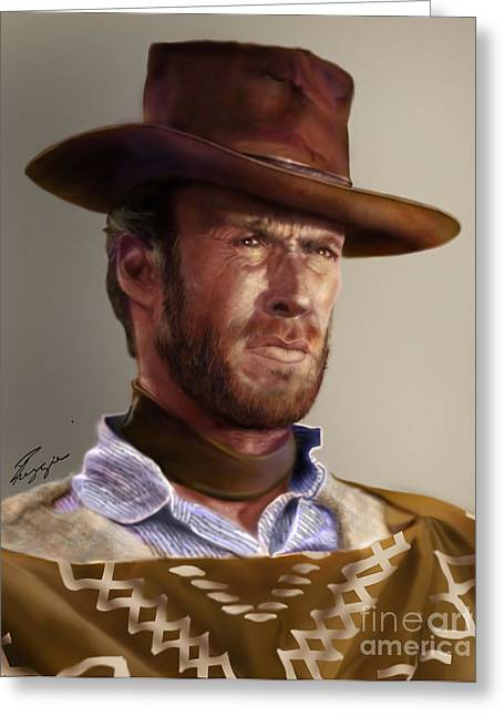Spaghetti Greeting Cards - Blondie - Clint Eastwood Greeting Card by Reggie Duffie