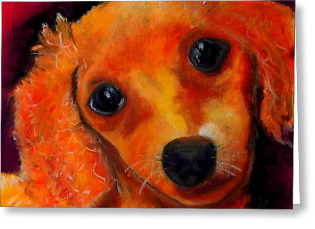 Puppies Pastels Greeting Cards - Blondie Greeting Card by Laura  Grisham