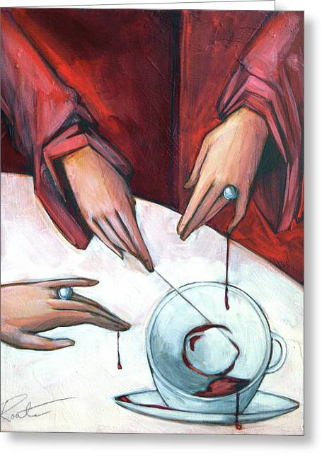 Red Blood Greeting Cards - Blood Magic Greeting Card by Jacque Hudson