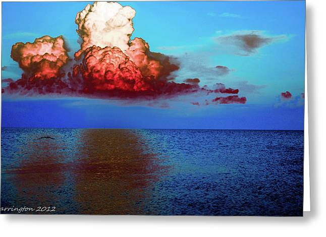 Cedar Key Greeting Cards - Blood Red Clouds Greeting Card by Shannon Harrington