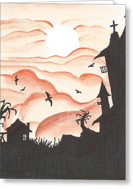 Cabin Window Mixed Media Greeting Cards - Blood Red Sky Greeting Card by Anthony McCracken