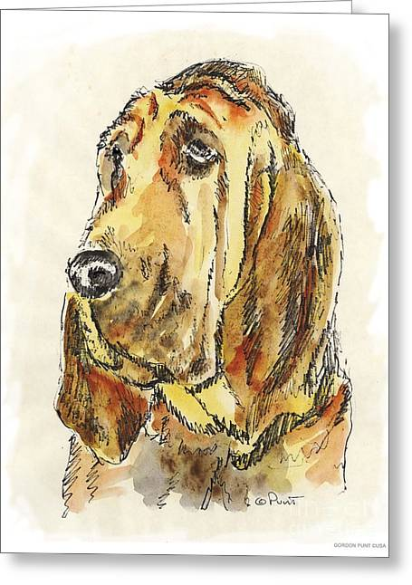 Blood Hound Greeting Cards - Bloodhound-Watercolor Greeting Card by Gordon Punt