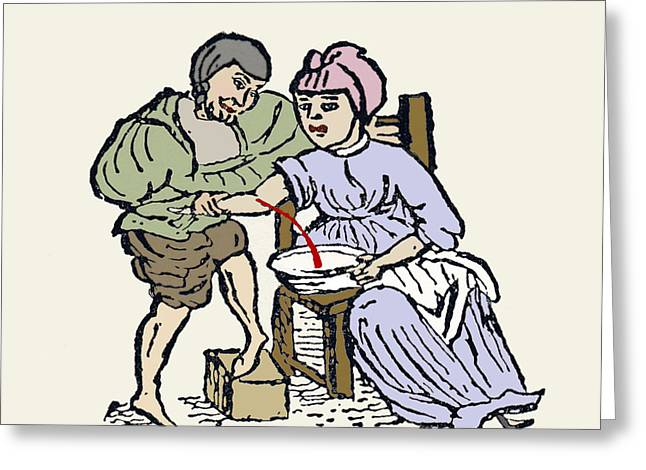 History Of Medicine Greeting Cards - Bloodletting, 12th Century Artwork Greeting Card by Sheila Terry